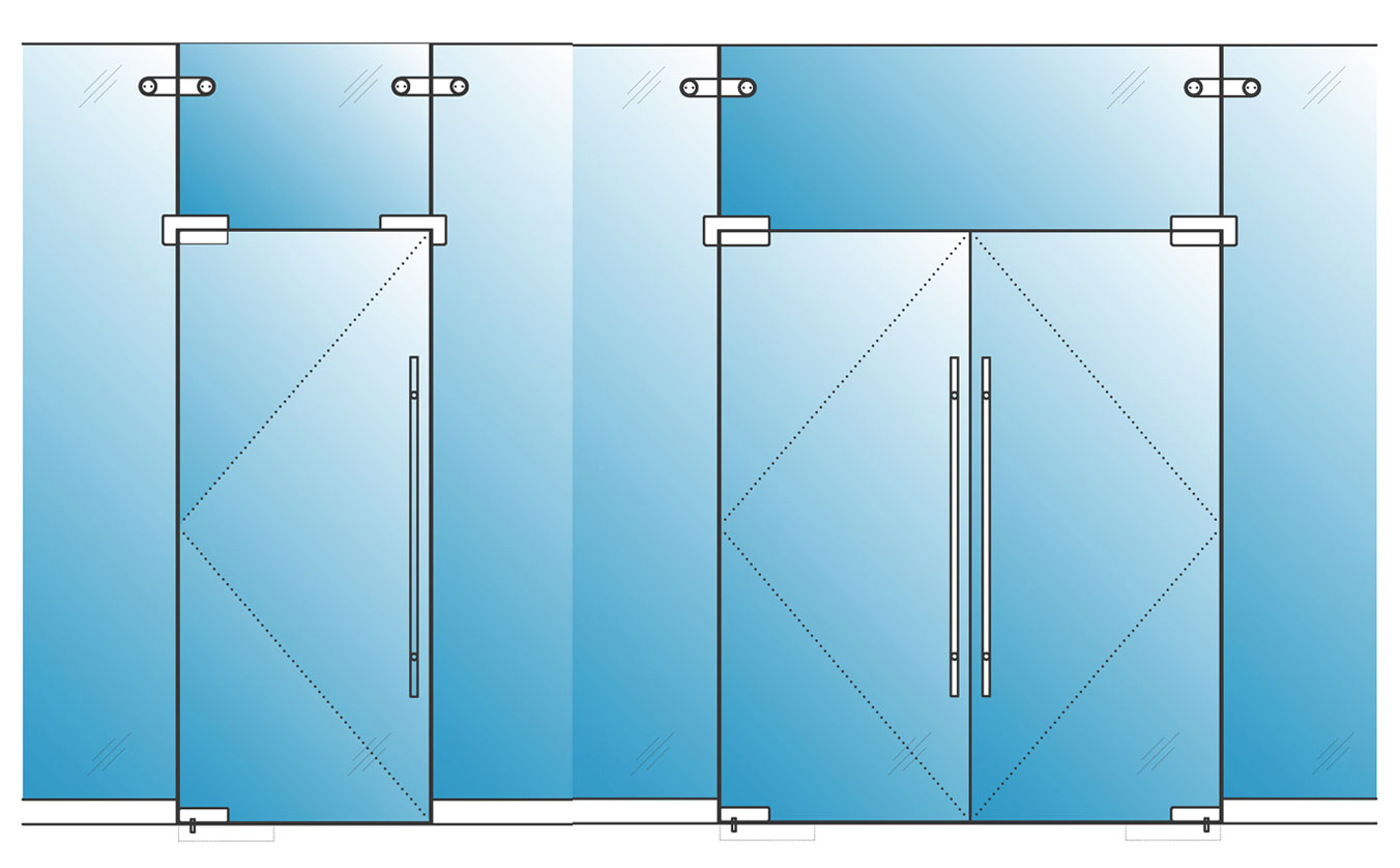 Single glazed glass herculite doors avanti systems usa for Frameless glass doors